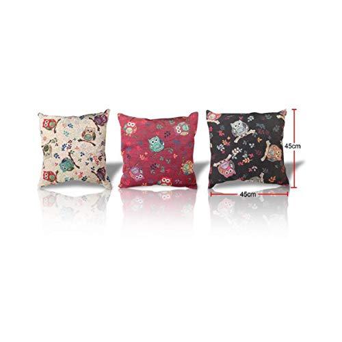Cisne 2013, S.L. Pack de 3 Fundas de Almohadas para cojin diseño buhos con Flores Medidas 45x45cm. Set 3 Pillow Case Diseño Buhos Flores.