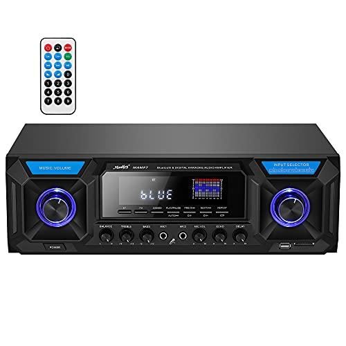 Moukey パワーアンプ ステレオアンプ オーディオパワーアンプレシーバー システム マイクミキサー 最大出力300W Bluetooth5.0 デュアルチャンネルサウンドオーディオステレオレシーバー USB、SD、FM、2マイクINエコー、RCA、LED、スピーカーセレクター スタジオ用 家庭用 MAMP7