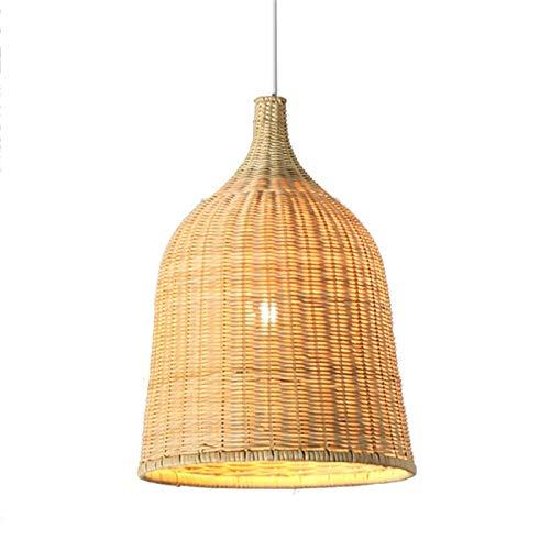 QJY Moderne eenvoudige landcraft bamboe hanglamp gras rotan willow houten plafondverlichting kroonluchter met kom lampshade, verstelbare verlichting