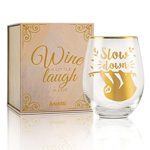 Onebttl Faultier Geschenke für Frauen, Weinglas mit Textkarte, Geschenkbox, Gin Glas/Rotweingläser ohne stiel - 500ml