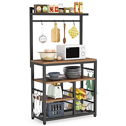 Tribesigns Kitchen Baker's Rack with 10 Hooks, 5-Tier Vintage Utility Storage Shelf, Microwave Oven Stand Rack with 2 Wire Baskets, Floor Standing Spice Rack Organizer Workstation, Vintage Brown