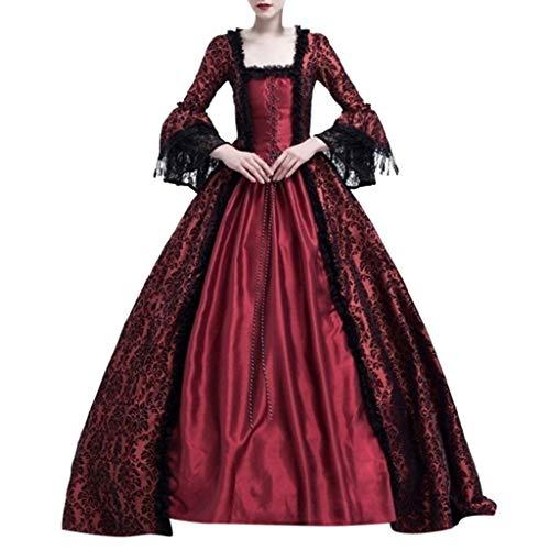 Lazzboy Frauen Retro Mittelalter Party Prinzessin Renaissance Cosplay Spitze Bodenlanges Kleid Langarm Viktorianischen Königin Kostüm Maxikleid(Wein,L)