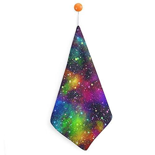 Toallas de baño y cocina, microfibra ultrasuave y altamente absorbente con gancho para colgar, secado rápido, lavable a máquina, diseño abstracto de universo de Noche estrellado con colores arcoíris