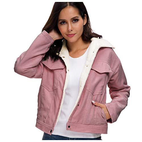 ReooLy Women's Thick Winter Warm Coats,Fashion Velvet Jackets Corduroy Lining Outwear (XXL, Deep Pink)