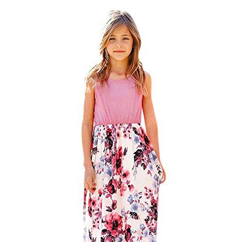 LILICAT Mode Enfant en Bas âge bébé Fille Enfant Fleur Impression Princesse Robe de Partie Tenues vêtements Mode Floral Enfants sans Manches Fleur Robe de Poche (8 Ans)