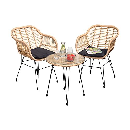 Green Spirit - Balkonmöbel-Set Kilsund - Braun, Polyrattan, für 2 Personen, Wetterfest, Sicherheitsglas - Bistro-Set, Balkon-Set mit 2 Stühlen, Tisch