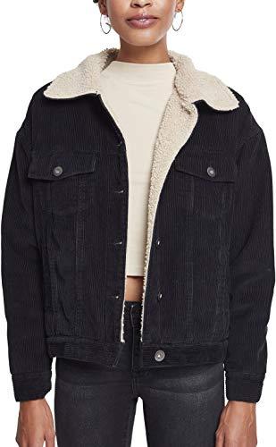 Urban Classics Damen Ladies Oversize Sherpa Corduroy Jacket Fleecejacke, Mehrfarbig (Blk/Beige 00579), Mediano