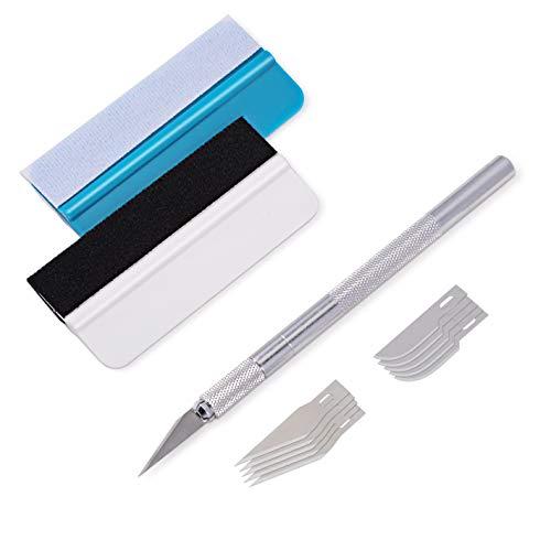 Winjun 3 in 1 Rakel Set Enthält Filzrakel Präzisionsmesser Skalpell mit Klingen für Autofolie Tönungsfolie Installation Werkzeug