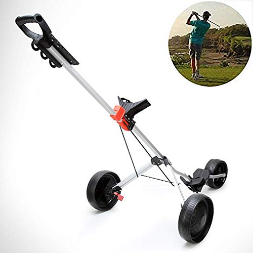 Sale!! YAOLAN Golf Trolley One-Click Folding with 360 Rotating Front Wheel, Foot Brake, 3 Wheels Alu...