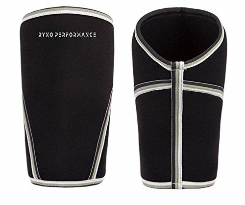 RYNO PERFORMANCE Kniebandage, aus 7 mm Neopren, für ultimative Unterstützung, Kompressionsleistung, 1 Paar - Schwarz - Klein