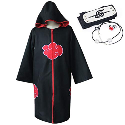 Kunandroc Unisex Naruto Akatsuki Lange Schwarze Robe Halloween Party Kostüm Uniform Mantel Stirnband(XL Hoodie Cloak)