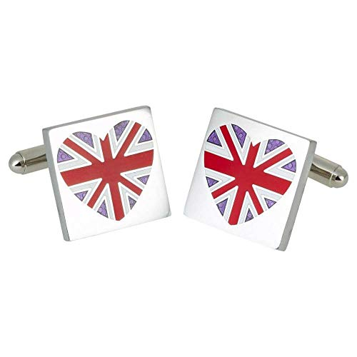 Sonia Spencer - Boutons De Manchette, Red Union Jack Heart, GB Collection