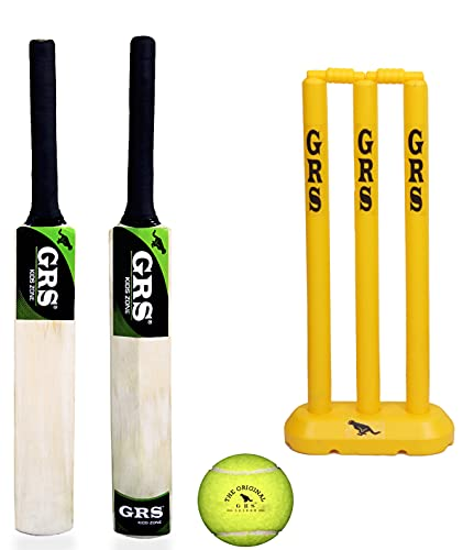 GRS Kids Zone Popular Willow Cricket Bat with Wicket Set & 1 Tennis Ball for Kids (Size 3, Age 6-10 Year Old Kids), Wood