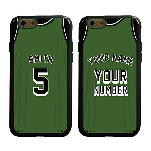Custom Basketball Jersey Cases for iPhone 6 / 6s by Guard Dog – Personalized Sports – Your Name and Number on a Protective Hybrid Phone Case. (Black, Green)