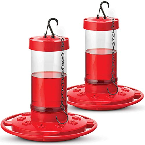 SEWANTA Hummingbird Feeders for Outdoors 16 Ounce - [Set of 2] First Nature Hummingbird Feeder Include, Perch with 10 Feeding Ports - Bundled with [2] Hanging Chains 9.5 Inch [4 Pcs Set]