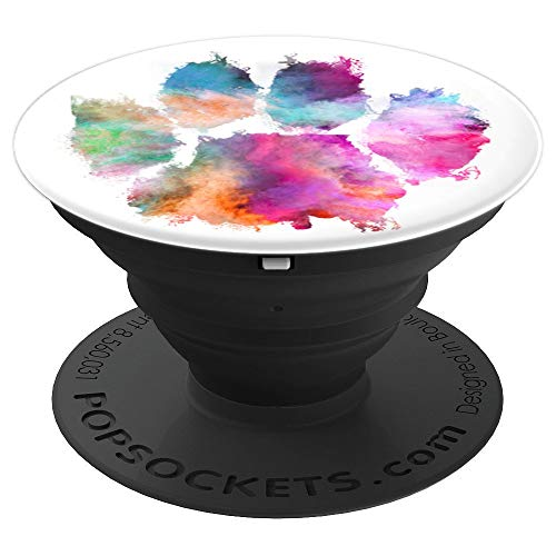 Colorful Dog Paw Print Pink Blue Abstract Animal Lover Gifts PopSockets Grip and Stand for Phones and Tablets