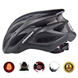 Shinmax自転車ヘルメット LEDヘルッドライト付き サイクリングヘルメット シンプルなヘルメットのバックパック 超軽量 高剛性22通気穴 取り外し可能なパラソル サイズ調整可能 頭守るCPSC認証済み スケートボード、キックボード、インラインスケート、BMX、MTBなど子供/大人も適用 57-62 CM S/M/L/XL(黒)