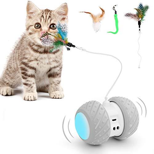 羽のおもちゃ 室内の猫のおもちゃ ロボットインタラクティブ猫玩具 光るおもちゃ 羽根付き猫玩具 内蔵LEDライト 不規則USB充電360度自転ボール 大容量電池 羽根4本