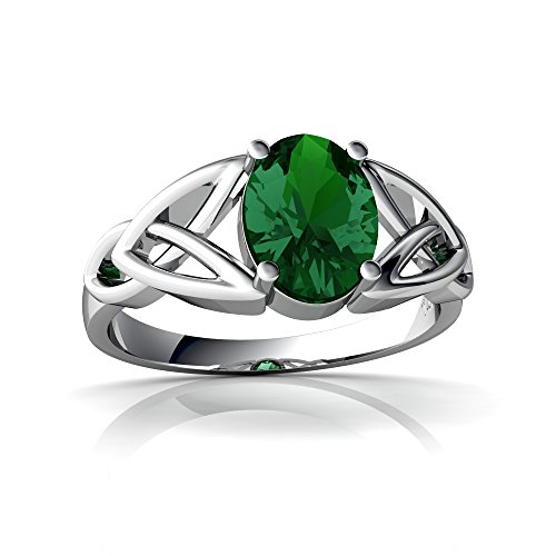 14kt White Gold Lab Emerald 8x6mm Oval Celtic Trinity Knot Ring - Size 7.5
