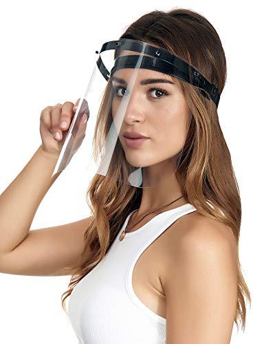 Crom Cr2 Gesichtsschutz Visier aus Kunststoff - Aufklappbares Schutzschild - Augenschutz Spuck-Schutz - Verstellbare Halterung - Für auch Kinder und Brillenträger(1 Halter(WEIß)-1 Visier)