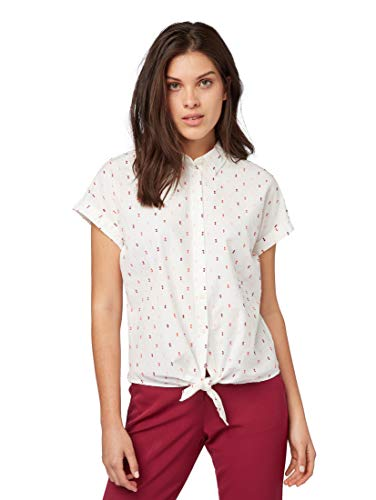 TOM TAILOR Damen Blusen, Shirts & Hemden Bluse mit Tupfenmuster White Colorful Dobby,38