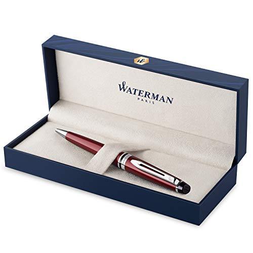 Waterman Expert Kugelschreiber | dunkelrot mit Chromzierteilen | Mittlere Spitze | Blaue Tinte | Geschenkbox