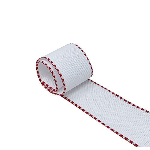 Cinta de tela Aida para Punto de Cruz   Entredós para bordar de 14 ct   100% algodón   Para personalizar toallas o bolsas de tela   50mm ancho   3 metros   de DELICATELA (Blanco - Rojo)