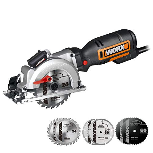 WORX WX427L 6A 4-1/2' Compact Circular Saw, Hand-Held Corded Electric Circular Saw w/Laser Cutting Guide, 6 Saw Blades, Ideal for Wood, Plastic & Metal Cutting