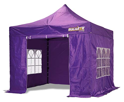 Bulhawk® 3x3m COMMERCIAL GRADE WATERPROOF HEAVY DUTY POP UP GAZEBO MARKET STALL MARQUEE INCLUDES SIDEWALLS (Purple (Including walls))