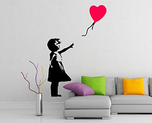 (54x80 cm) Banksy Vinyl Muursticker Meisje met Hart Ballon/Straat Graffiti Art Decor Sticker/Home Verwijderbare DIY Mural + Gratis Willekeurig Decal Cadeau!