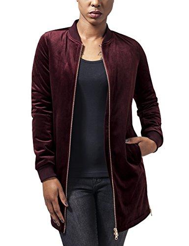 Urban Classics Damen Ladies Long Velvet Jacket Jacke, Rot (burgundy 606), 40 (Herstellergröße: L)