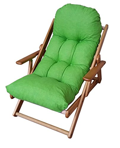 Fauteuil relax 3 positions en bois, pliable, coussin rembourré, multicolore