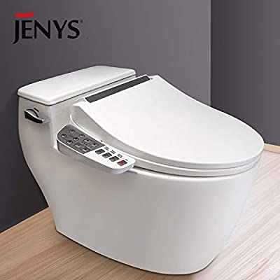 JENYS Smart Electric Toilet Bidet Seat with Side Key Panel|Air Warm Dryer|Stainless-Steel Nozzle|Nightlight|Nozzle Oscillation|Adjustable Heated Seat and Water