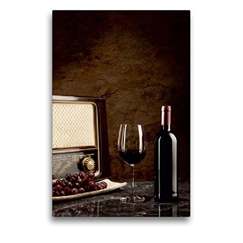 CALVENDO Premium Textil-Leinwand 50 x 75 cm Hoch-Format Rotwein in Flasche und Glas mit Weintrauben, Leinwanddruck von Wolfgang Steiner
