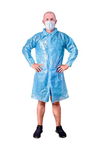 Blue Lab Coat. Unisex Disposable Polyethylene Labcoat. XL Size. Liquid-Proof Workwear. Non-Woven Visitor Coat. PE Coated Industrial Coat for Men Women. Lightweight, Breathable, Waterproof.