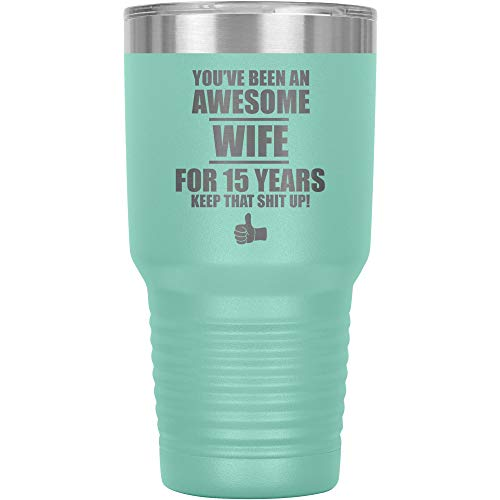 15th Wedding Anniversary Tumbler Travel Mug Coffee Cup 15 Fifteen Fifteenth...