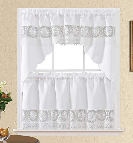 Daisy Dream. Kitchen Cafe Curtain Set for Small Windows. Satin Fabric with Matching Color Daisy Embroidery and Lace. (White, Swag and 24 inches Tiers Set)