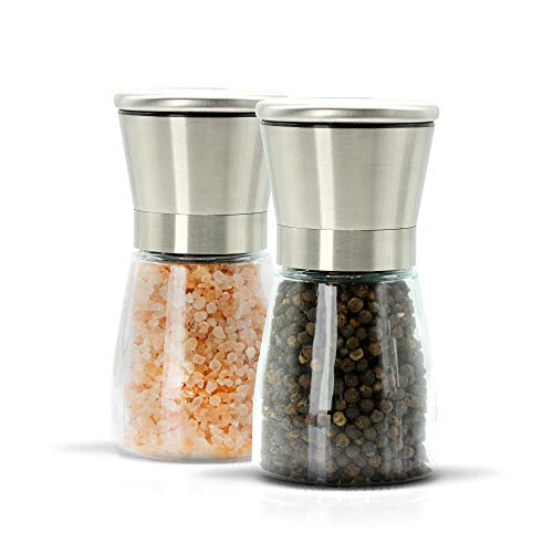 Refillable Salt and Pepper Grinder Set of 2 with Adjustable Coarseness - Stainless Steel and Glass Mills - Ergonomic Pepper Shakers with Manual Grind