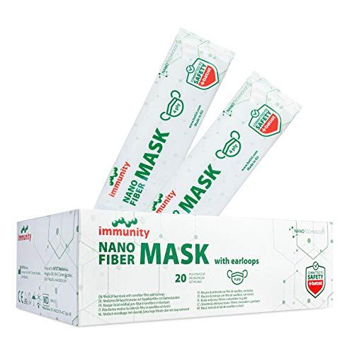 BATIST Nanovezel Masker Medisch Type IIR Gecertificeerd volgens EN 14683 Individueel verpakt 20 stuks 100% Gemaakt in de EU Nano Fibre mondbeschermer