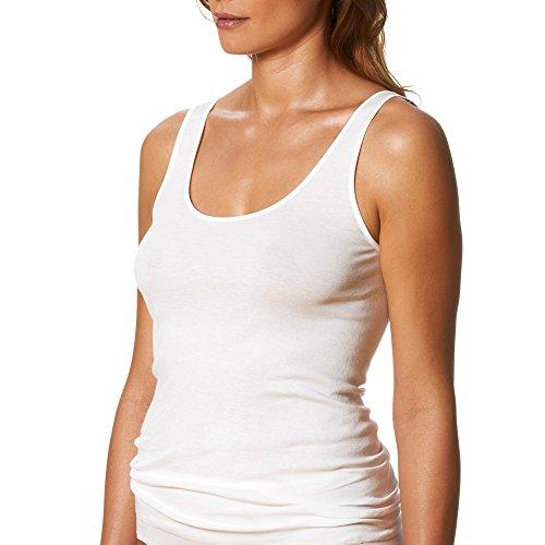 2er Pack Mey Damen Sporty-Hemden - Noblesse - 25102 - Weiß - Größe 42 - Saumfreie Damen-Unterhemden - Top ohne Seitennähte