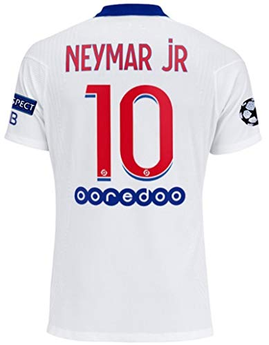 Paris 2020-2021 New Season #10 Neymar Mens Soccer Away Jersey & Armbands T-Shirts Color White Size XL