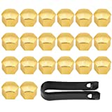 iFCOW Wheel Hub Covers 20Pcs 17mm Car Tyre Wheel Hub Covers Lug Nut Bolt Screw Cover Protection Cap Gold Universal