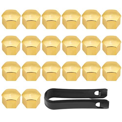 Cubierta de cubo de rueda de coche Plástico Dorado 20 piezas 17 mm Cubiertas de cubo de rueda de neumático de coche universal Tuerca de perno Cubierta de tornillo Tapa protectora Cubierta de tuerca de