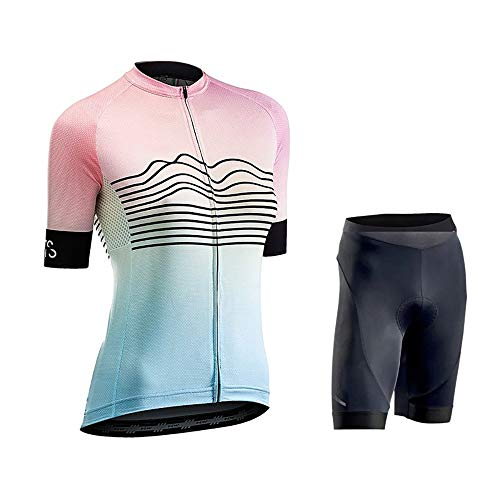 Nobrannd Women's Cycling Jersey Women's Breathable Sunscreen Moisture Absorption Short Sleeved Bike Riding Suit Suitable For Outdoor Cycling Fitness (Color : Photo Color, Size : XL)