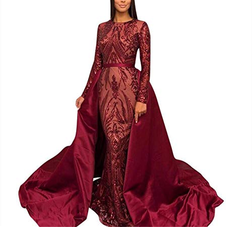 Aries Tuttle Burgundy Sequined Satin Mermaid Prom Evening Party Dress Celebrity Pageant Gown Detachable Train (US 10, Burgundy)