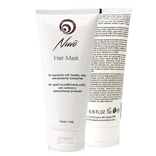 Nuvo' Masque pour Cheveux Bave d'escargot Enrichi à la Kératine Végétale Huile d'amande Huile de Jojoba Traitement Restructurant 100% Made in Italy 200ml