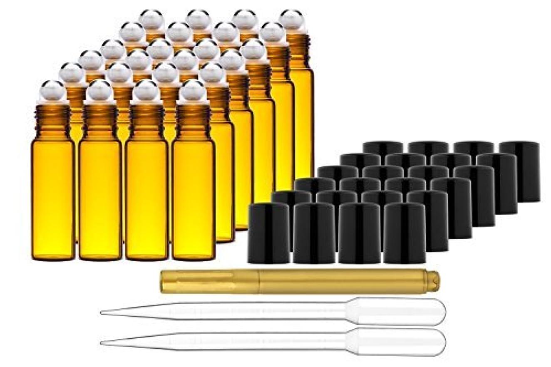 不足批判的に明快Culinaire 24 Pack Of 10 ml Amber Glass Bottles with Stainless Steel Roller Balls/Caps & (2x) 3 ml Droppers with Gold Glass Pen included [並行輸入品]