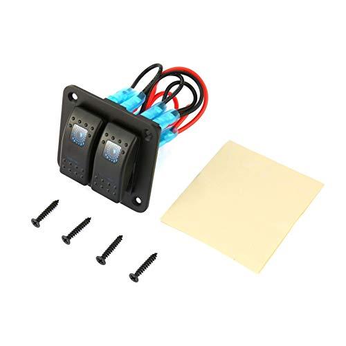 Agnus 12V 24V 2 Panel De Interruptores De Rockero De Pandillas Dual LED Impermeable Rocker Interruptor De Rocker Control Interruptor del Interruptor Ajuste para El Barco Marine Barco (Color : Blue)