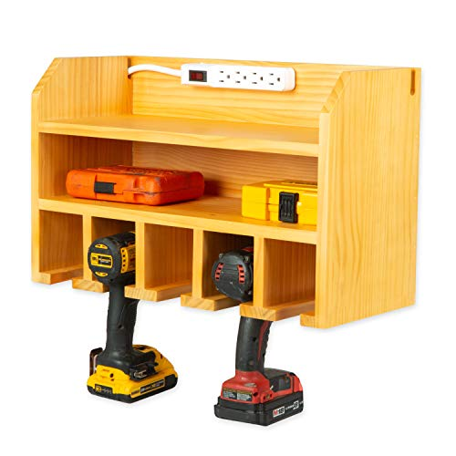 Power Tool Organizer for Garage  Fully Assembled Wood Tool Chest and Drill Charging Station  Power Strip Included  Great Workshop Organization and Storage Gift for Men