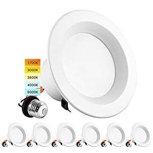 Luxrite 4 Inch LED Recessed Can Lights, 10W=60W, CCT Color Selectable 2700K   3000K   3500K   4000K   5000K, Dimmable Retrofit Downlights, 750 Lumens, Energy Star, Wet Rated, ETL Listed (6 Pack)